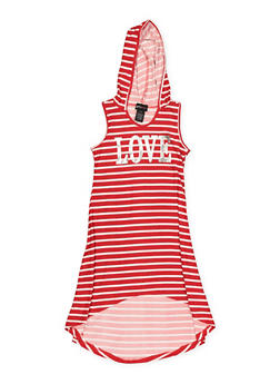 Girls 7-16 Striped Foil Graphic High Low Dress - 1615051060420