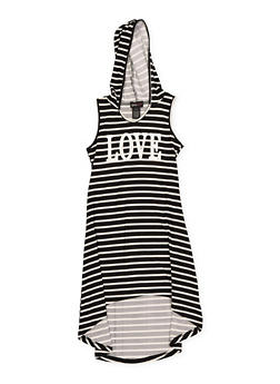 Girls 7-16 Foil Graphic Hooded High Low Dress - 1615051060421
