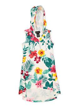 Girls 7-16 Floral Foil Print Hooded Dress - 1615051060422
