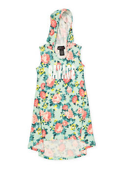 Girls 7-16 Floral Foil Print Hooded Dress - 1615051060422