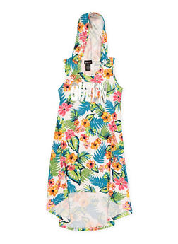 Girls 7-16 Hooded Love Floral High Low Dress - 1615051060423