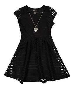 Girls 7-16 Shadow Stripe Skater Dress with Necklace - 1615051060425