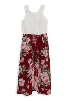 Girls 7-16 Sleeveless Floral Overlay Romper - 1615051060435