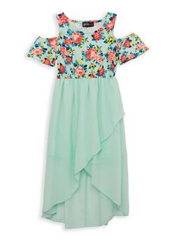 Girls 7-16 Floral Cold Shoulder Skater Dress - 1615051060437
