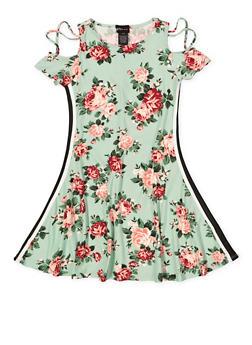 Girls 7-16 Floral Cold Shoulder Tape Trim Dress - 1615051060441