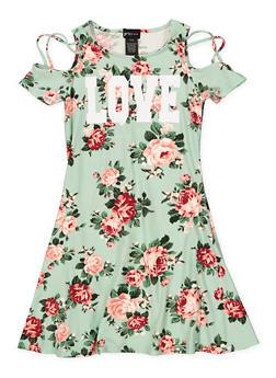 Girls 7-16 Love Floral Cold Shoulder Dress - 1615051060442