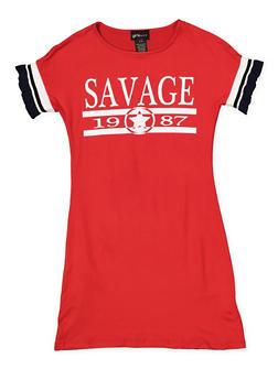 Girls 7-16 Graphic Knit Trim T Shirt Dress - RED - 1615051060451