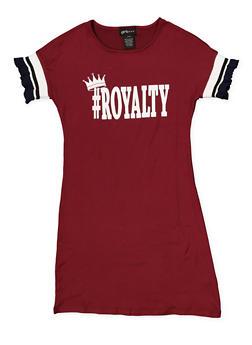 Girls 7-16 Graphic Knit Trim T Shirt Dress - WINE - 1615051060451