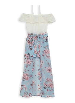 Girls 7-16 Floral Lace Maxi Romper - 1615051060452