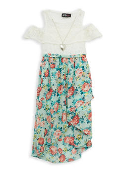 Girls 7-16 Lace Floral Skater Dress with Necklace - 1615051060454