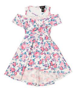 Girls 7-16 Crochet Yoke Cold Shoulder Skater Dress - 1615051060456