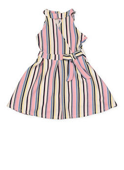 Girls 7-16 Sleeveless Striped Faux Wrap Skater Dress - 1615051060457