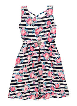 Girls 7-16 Floral Caged Neck Skater Dress with Necklace - 1615051060459