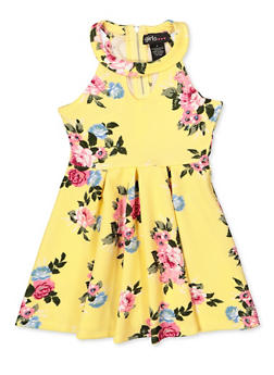 Girls 7-16 Tropical Print Skater Dress - 1615051060461