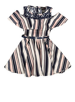 Girls 7-16 Striped Belted Skater Dress - 1615051060462