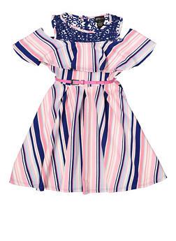 Girls 7-16 Striped Belted Skater Dress - 1615051060462