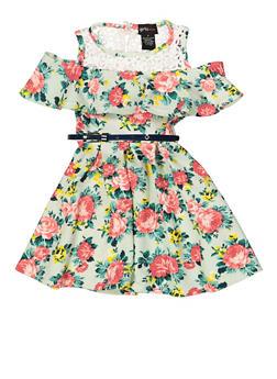 Girls 7-16 Floral Belted Skater Dress - 1615051060464