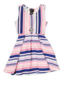 Girls 7-16 Striped Textured Knit Skater Dress with Necklace - 1615051060465