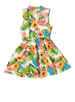 Girls 7-16 Pleated Floral Skater Dress with Necklace - 1615051060466
