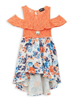 Girls 7-16 Lace Floral Dress with Necklace - 1615051060467