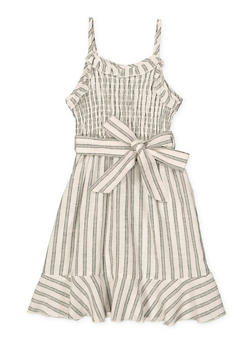 Girls 7-16 Striped Tie Waist Linen Dress - 1615051060470