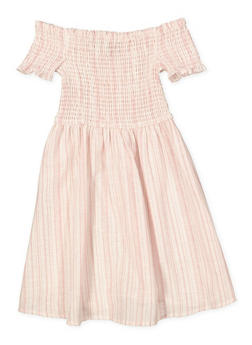 Girls 7-16 Smocked Linen Dress - 1615051060471