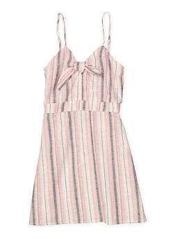 Girls 7-16 Striped Linen Dress - 1615051060472