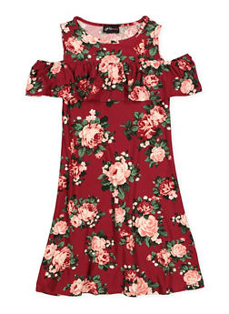 Girls 7-16 Floral Ruffled Skater Dress - 1615051060477