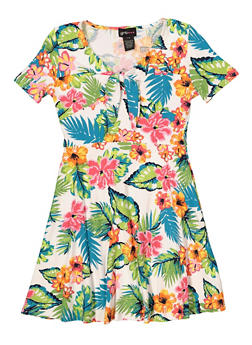 Girls 7-16 Tie Neck Floral Skater Dress - 1615051060480
