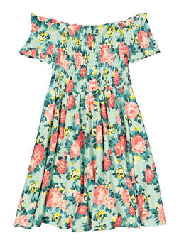 Girls 7-16 Smocked Floral Off the Shoulder Dress - 1615051060481