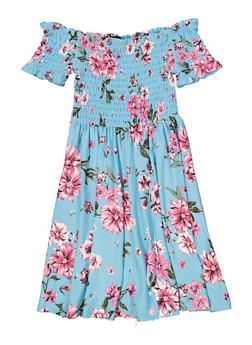Girls 7-16 Smocked Floral Off the Shoulder Dress - 1615051060481