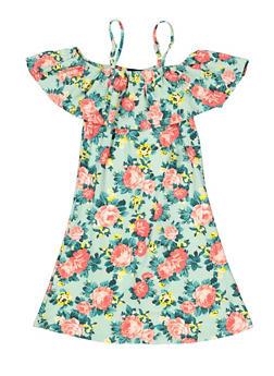 Girls 7-16 Tropical Print Off the Shoulder Shift Dress - 1615051060483