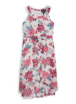 Girls 7-16 Tie Waist Floral High Low Dress - 1615051060510