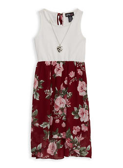Girls 7-16 Solid and Floral Skater Dress - WINE - 1615051060511