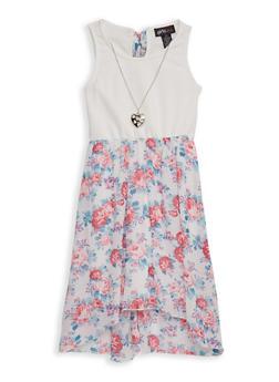Girls 7-16 Solid and Floral Skater Dress - PINK - 1615051060511