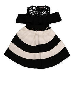 Girls 7-16 Striped Cold Shoulder Skater Dress - 1615051060525