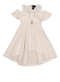 Girls 7-16 Crochet Cold Shoulder Skater Dress - 1615051060526