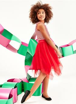 Girls 7-16 Striped Mesh Skater Dress - 1615051060533