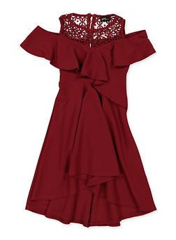Girls 7-16 Ruffled Crochet Trim Skater Dress - 1615051060534