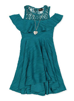 Girls 7-16 Pleated Skater Dress with Necklace - 1615051060536