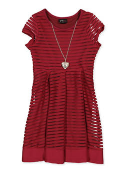Girls 7-16 Shadow Stripe Pleated Skater Dress with Necklace - 1615051060538