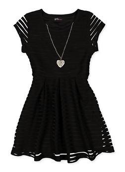 Girls 7-16 Solid Shadow Stripe Skater Dress - 1615051060539