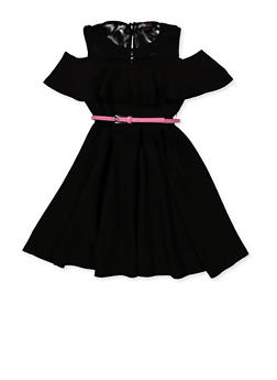 Girls 7-16 Textured Knit Pleated Skater Dress - 1615051060540