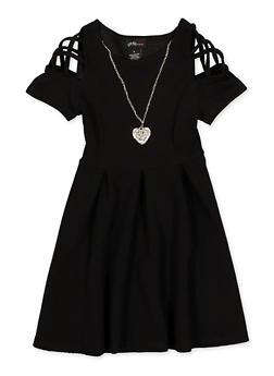 Girls 7-16 Caged Sleeve Skater Dress - 1615051060541