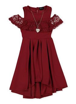 Girls 7-16 Crochet Trim Cold Shoulder Skater Dress - 1615051060542