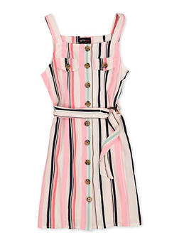 Girls 7-16 Striped Button Front Dress - 1615051060550