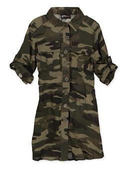 Girls 7-16 Camo Button Front Dress - 1615051060570