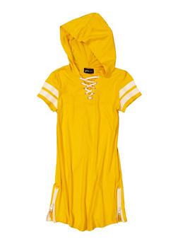 Girls Lace Up Varsity Striped Hooded Dress - 1615051060659