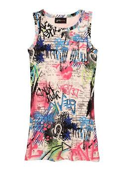 Girls Printed Pocket Tank Dress - 1615051060664