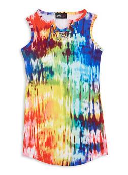 Girls Tie Dye Lace Up Tank Dress - 1615051060685